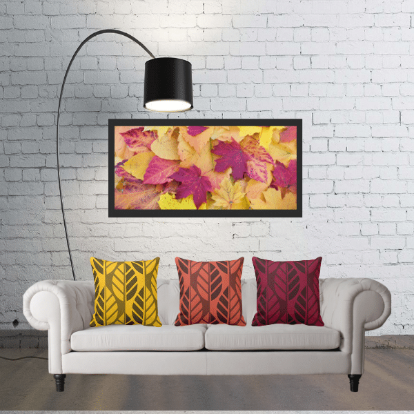 Yellow and red throw pillows