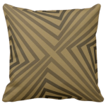 pillow with geometric angular pattern in brown