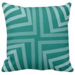 pillow with geometric angular pattern in green