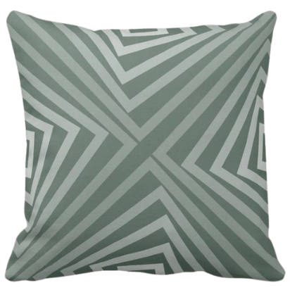 grey pillow with angular pattern