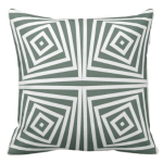 White square spiral pattern decorating a grey pillow