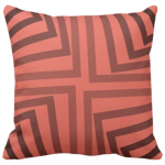 20 inch by 20 inch throw cushion with geometric angular pattern in pink