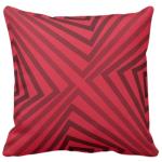 20 inch by 20 inch throw pillow with monochrome red angular pattern