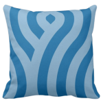 accent pillow with blue wave pattern