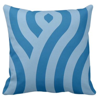 accent pillow with blue waves pattern