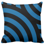 Blue pillow with a black seemless wave pattern
