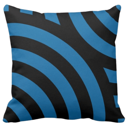 throw pillow with blue and black waves pattern