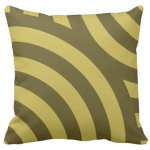 pillow with a golden-brown circular wave pattern
