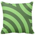 pillow with a green circular wave pattern