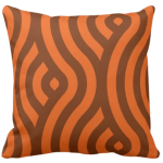 accent pillow with orange seamless wave pattern