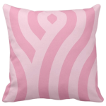 throw pillow with pink wave pattern