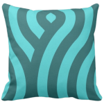 throw pillow with turquoise wave pattern