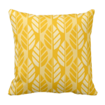Throw Pillow With Yellow Leaves Pattern Design