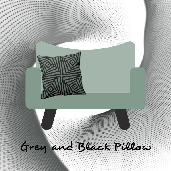 Grey and pillow with black pattern