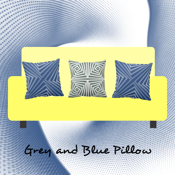 Blue and Grey Pillows on yellow couch