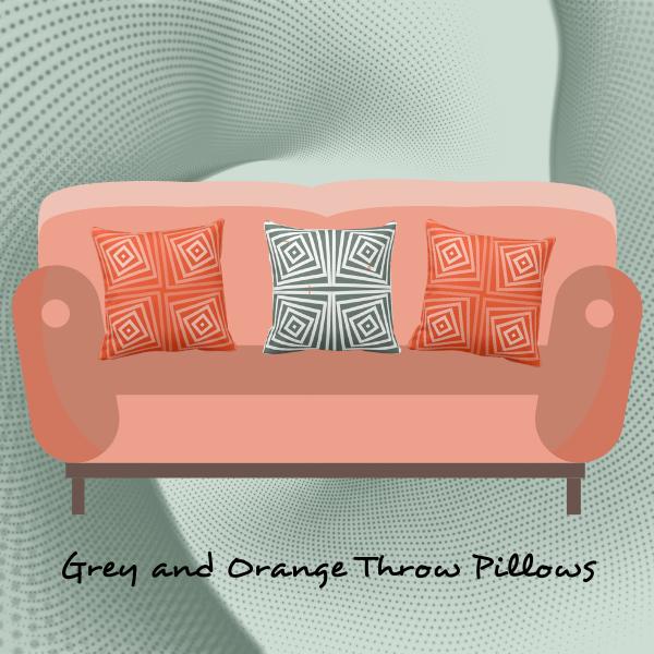Grey and orange cushions