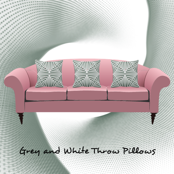 Grey and white pillow on pink couch