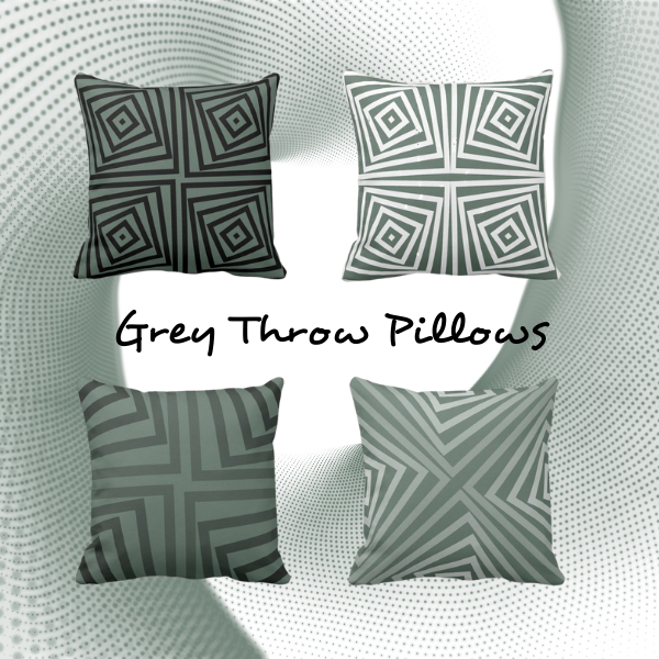 Grey throw pillows with a geometric angular pattern