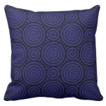 in shades of blue throw pillow with a playful nested circles pattern