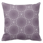 in shades of purple throw pillow with a nested circular pattern