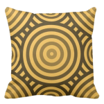 in shades of yellow throw pillow with nested circular pattern in tribal pattern
