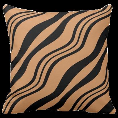 Black Wavy Stripes Pattern Decorating A Brown Pillow
