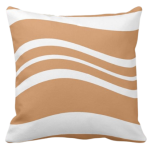 Brown and white wavy stripes repeat pattern on a throw pillow