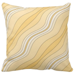 Yellow Wavy Stripes Pattern Decorating A Pillow Giving a Stone Sediment Impression