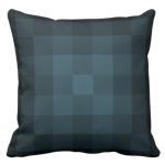 blue pillow with monochrome square pixel pattern