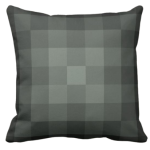 grey pillow with monochrome square pixel pattern