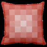 orange pillow with monochrome square pixel pattern