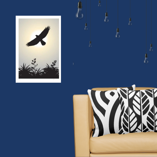 Kahu a New Zealand hawk photography is accented with black and white cushions