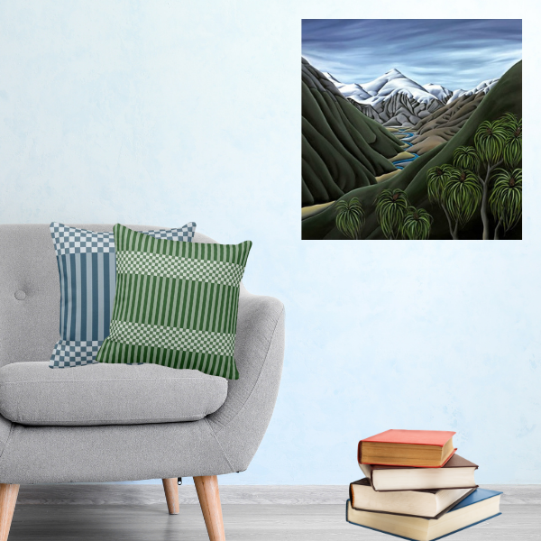 Beyond The Cascade By NewZealand Artist Diane Adams decorating a living-room corner with a grey armchair and two throw pillows in blue and green showing a stripes and checkers pattern