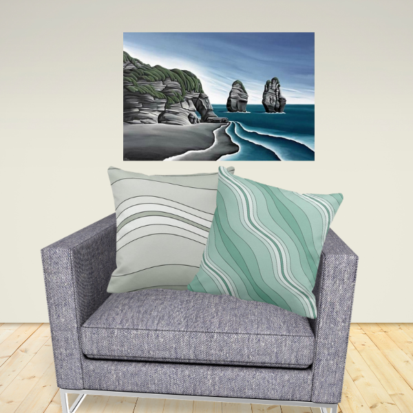Art Meets Pillows - Taranaki Cliffs by Diana Adams paired up with a green and grey pillows showing the wavy stripes pattern
