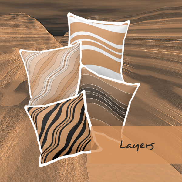 Brown pillows with layers pattern
