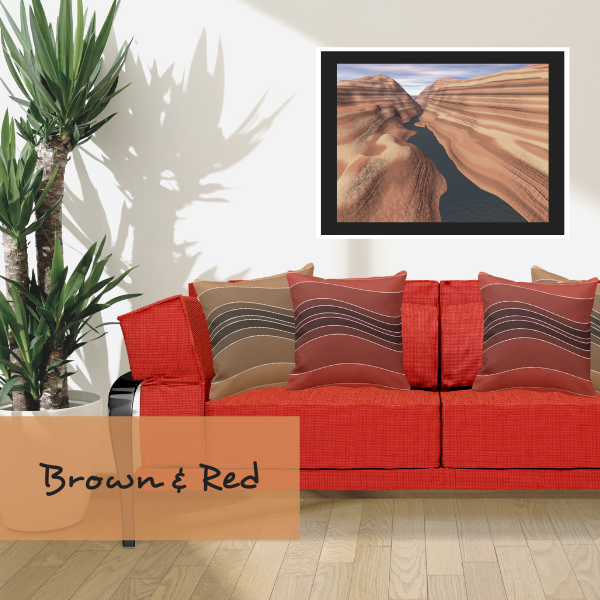Brown and red throw pillows with layers pattern on red couch