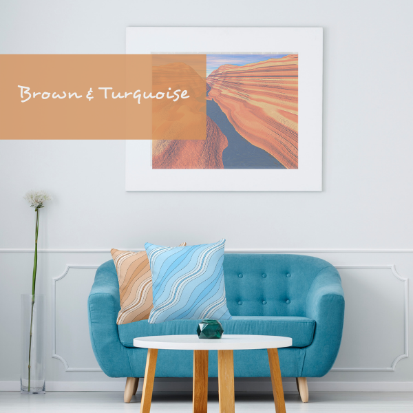 Brown and turquoise throw pillows with wavy stripes decorate a turquoise couch in a modern living room