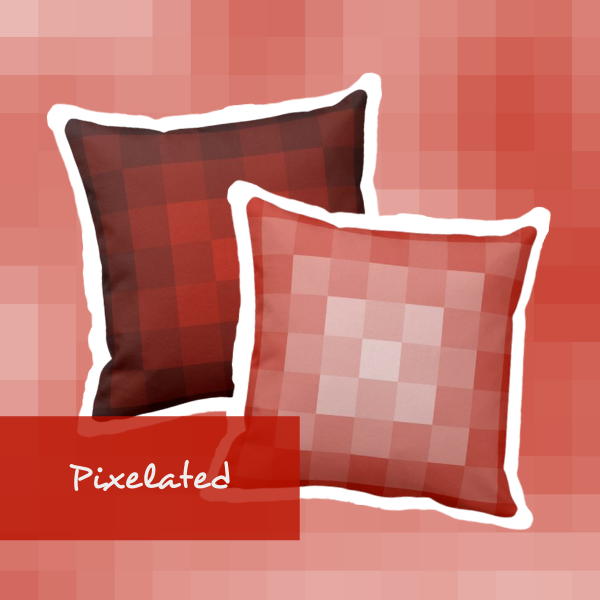 Two Orange Throw Pillows With A Pixelated Pattern One Lightened The Other Subdued