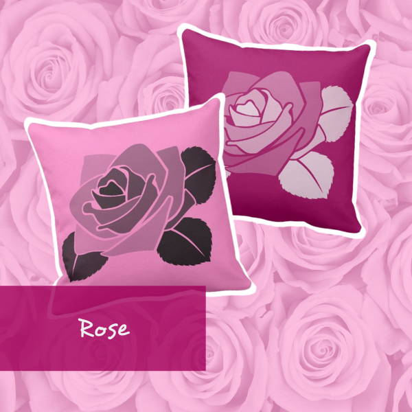 Pink pillows with a single rose pattern