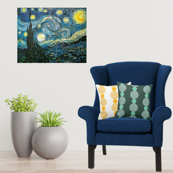 Starry Night by Vincent Van Gogh Meet Yellow and Turquoise Pillows with Pearl Pattern