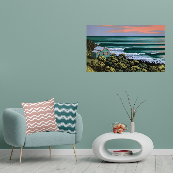 Art Meets Pillows - Wave Haven Raglan by Tony Ogle - Pink and Green Pillows with Ripple Pattern