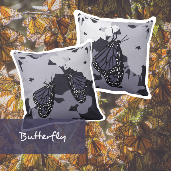 square purple pillows with a single feeding Monarch butterfly and a pair of butterflies