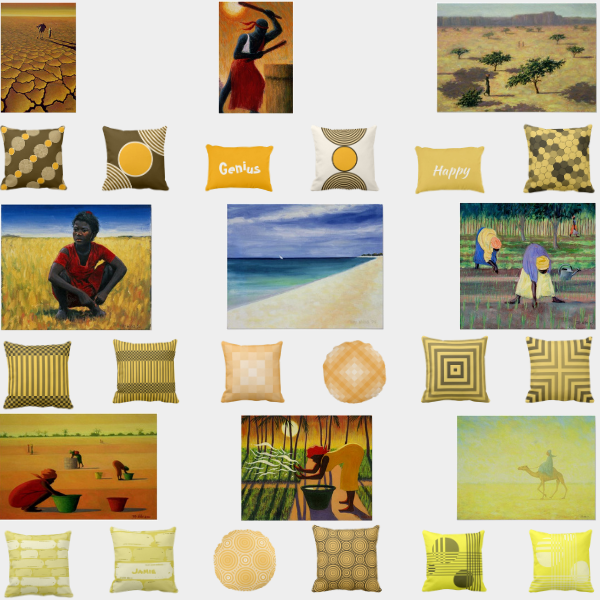 Yellow Throw Pillows and African Art Prints by Tilly Willis