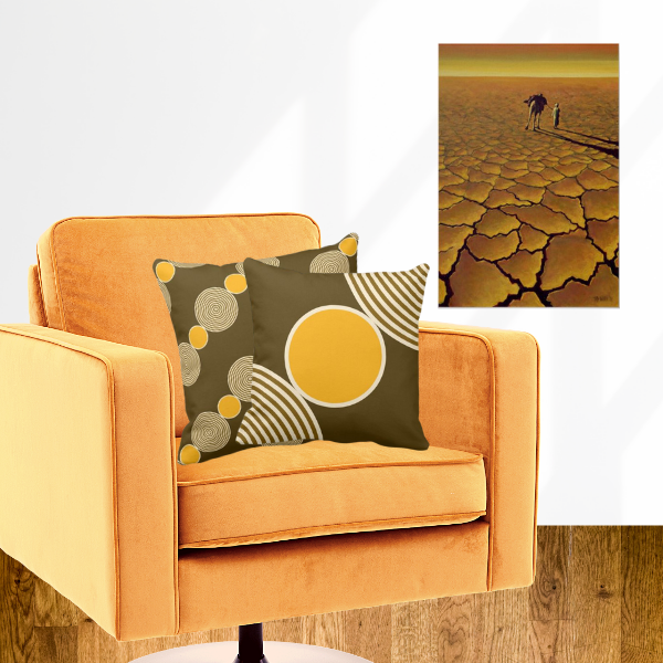 Yellow beads patterned pillow with art print Saharan Journey by Tilly Willis