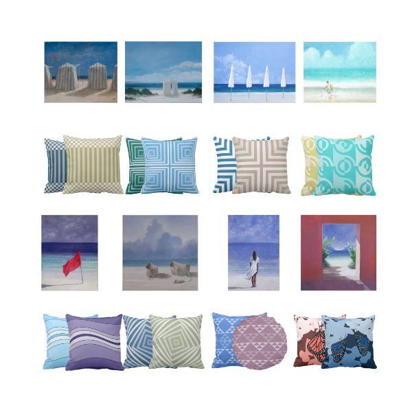 Eight Coastal Art Prints By Lincoln Seligman Meet Pillows By KBM D3signs