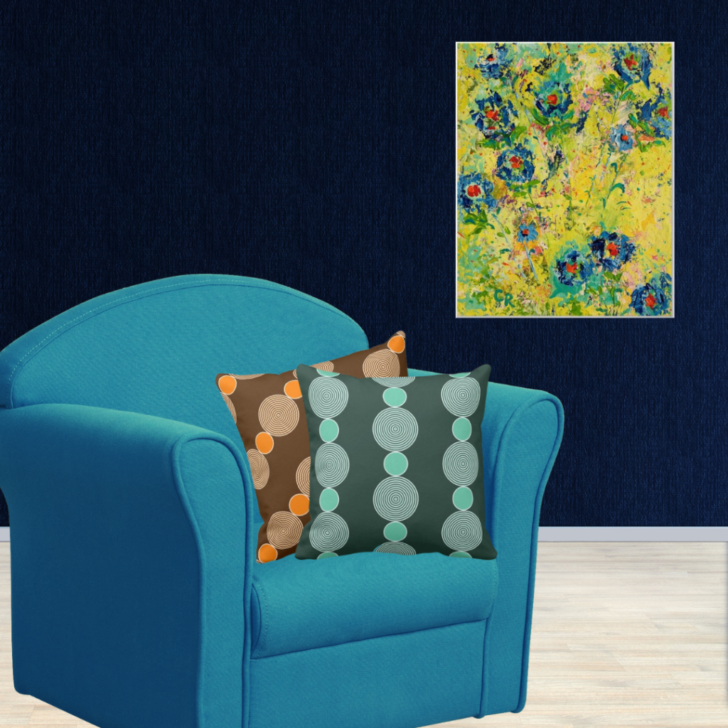 Blossoming Blue By Chris Rice And Turquoise And Orange Beads Patterned Pillows