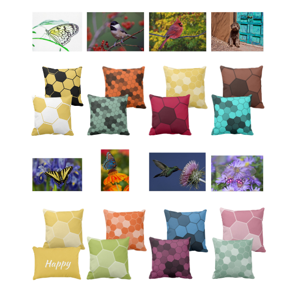wildlife animal photography complemented by pillows with hexagon pattern