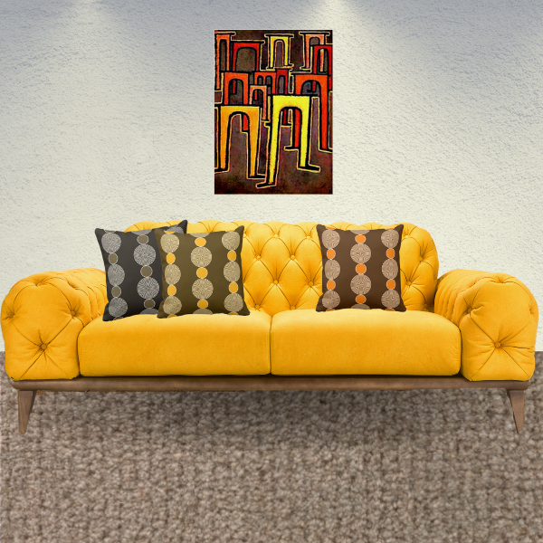 Revolution of the Viaduct by Paul Klee and pillows with beads pattern in yellow, orange, brown