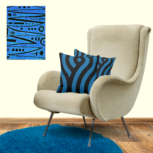 Heroic Fiddling art print by Paul Klee and pillows with waves pattern in blue and black