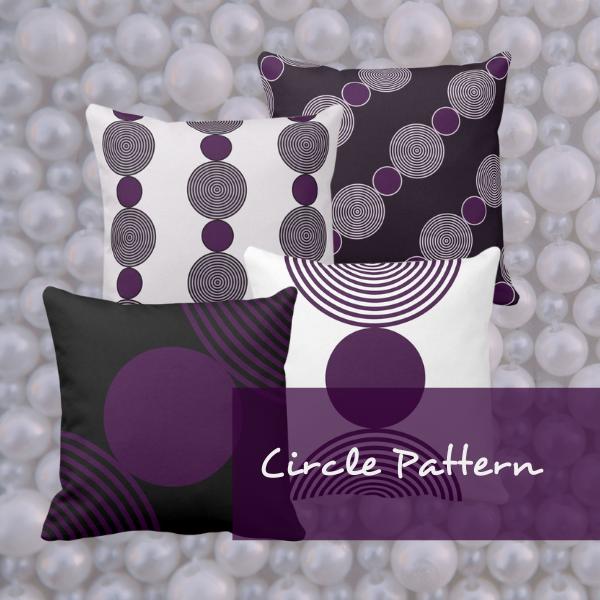 Decorative purple pillows with circular pattern
